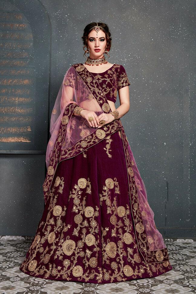 New Wine Color Designer Embroidery Work Velvet Lehenga Choli