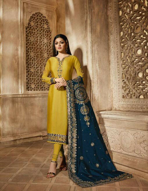 New Yellow Colored Salwar  Suit With  Embroidery Work For Women