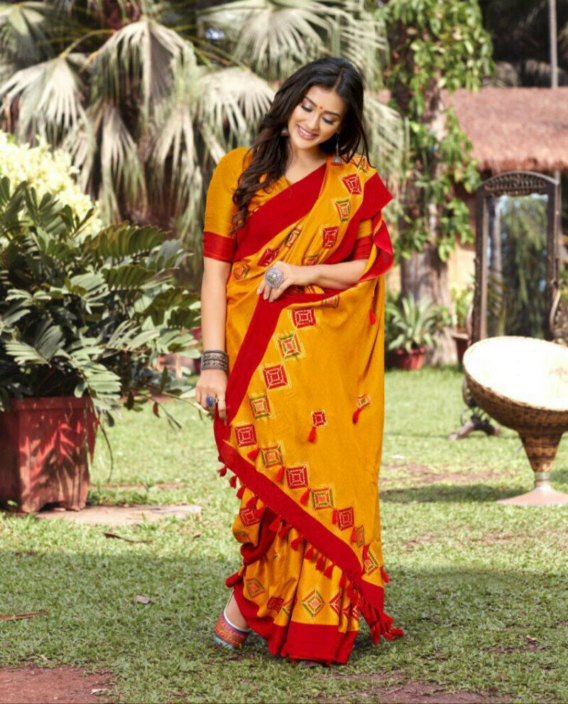 Noticeable Red & Yellow Colored Linen Printed Party Wear Latest Saree For Ladies