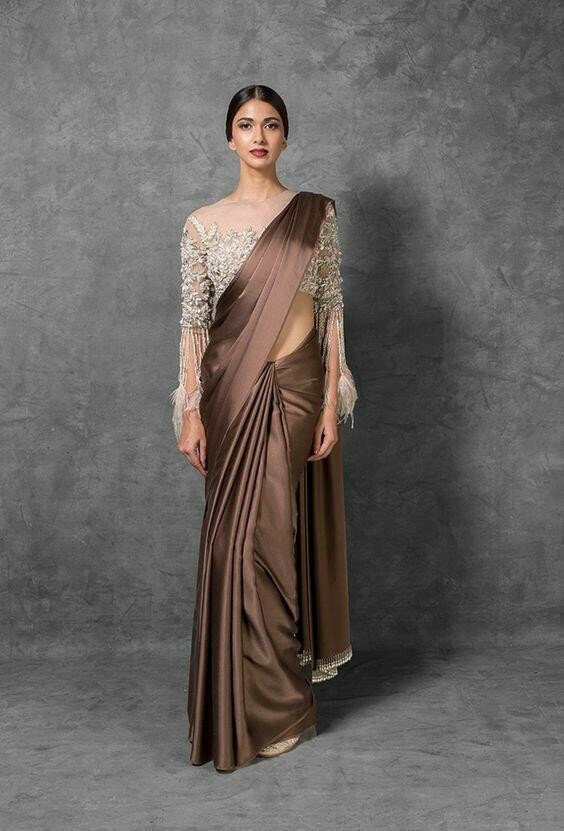 Now Trending coffee Color fancy fabric Party Wear with embroidered blouse Saree 2019