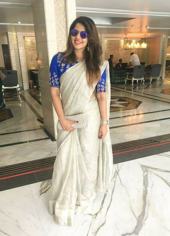 Now Trending white Color fancy fabric Party Wear with embroidered blouse Saree 2019