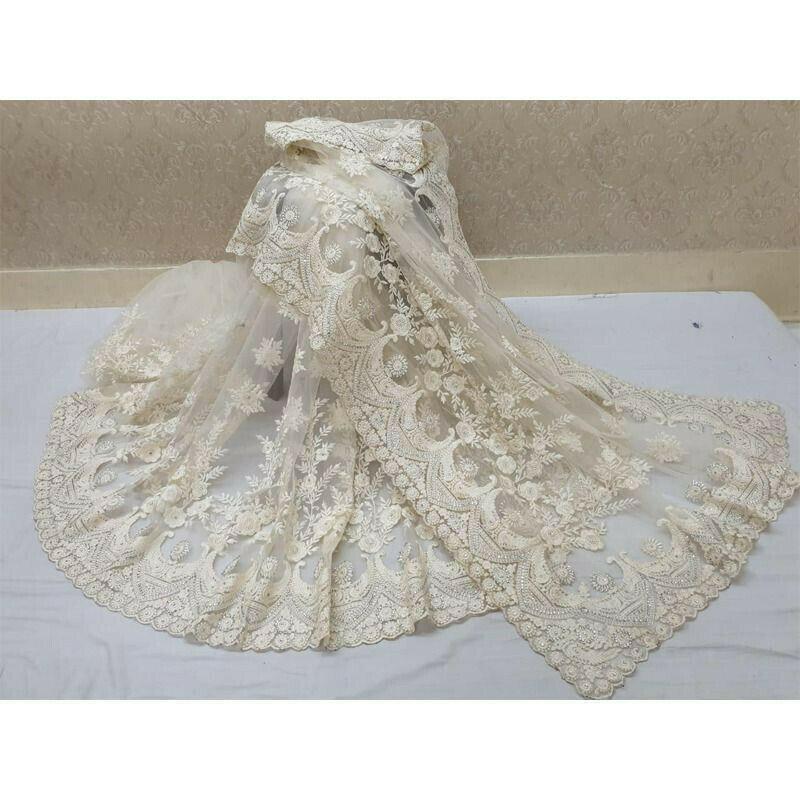 Off White Stone Work Soft Net Designer Saree