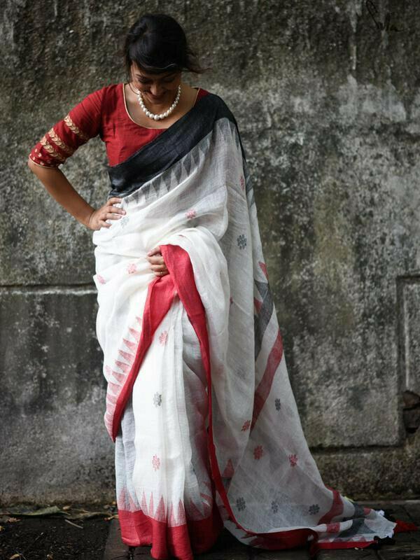 Opulent White And Red Colored Festive Wear Pure Linen Designer Saree