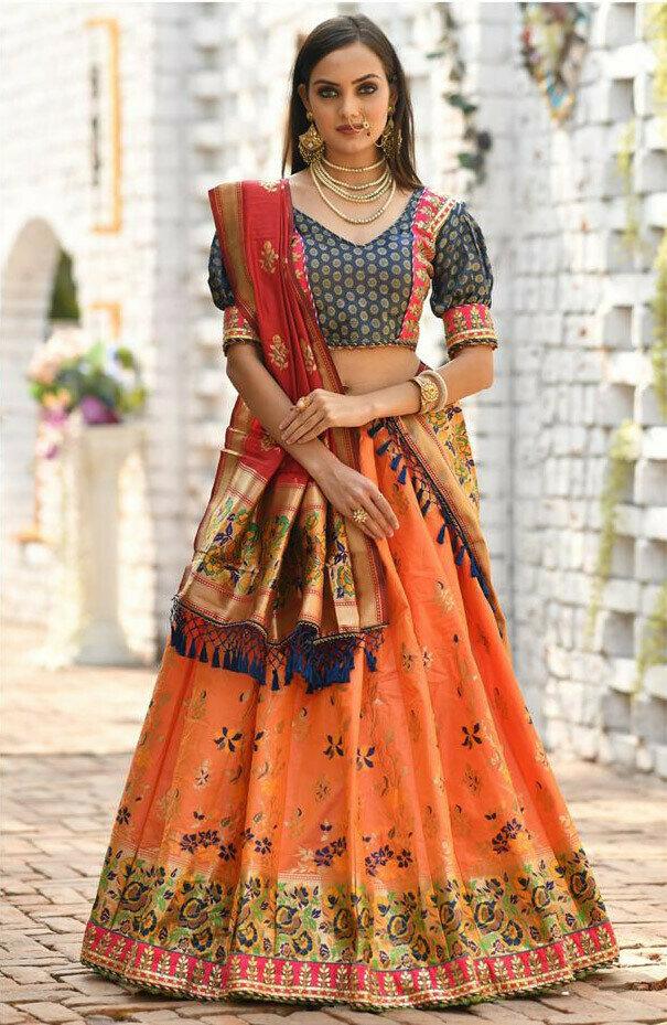 Orange Color Wedding Wear Lehenga Choli