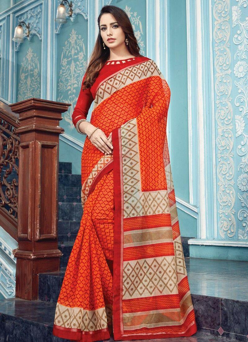 Orange Elegant Kota Saree