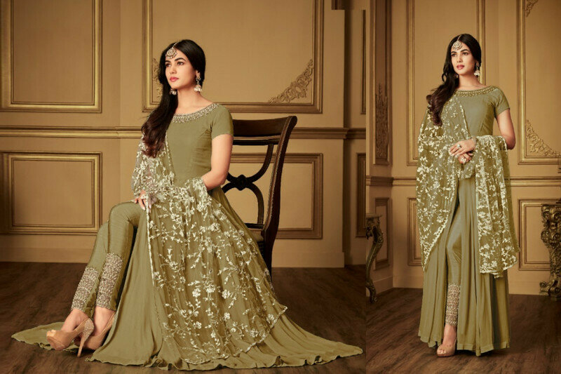 Pakistani Bollywood Pista Anarkali Salwar Kameez Suit With Dupatta
