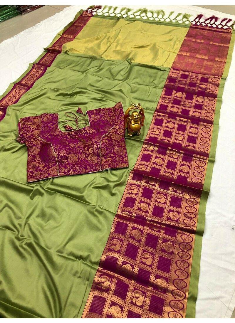 Parrot Color Cotton Silk Saree For Wedding
