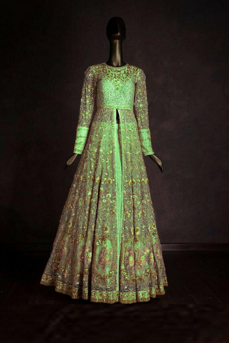 Parrot Green Net Gown