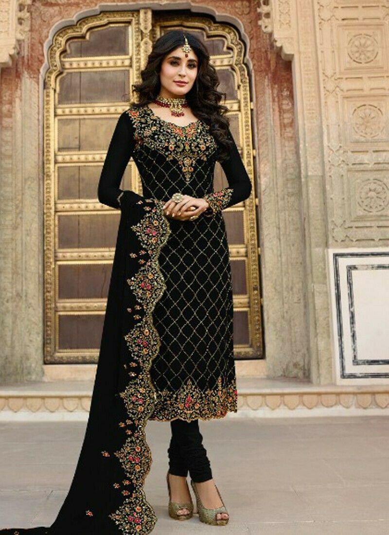 Party Wear Black Georgette Churidar Salwar Suit