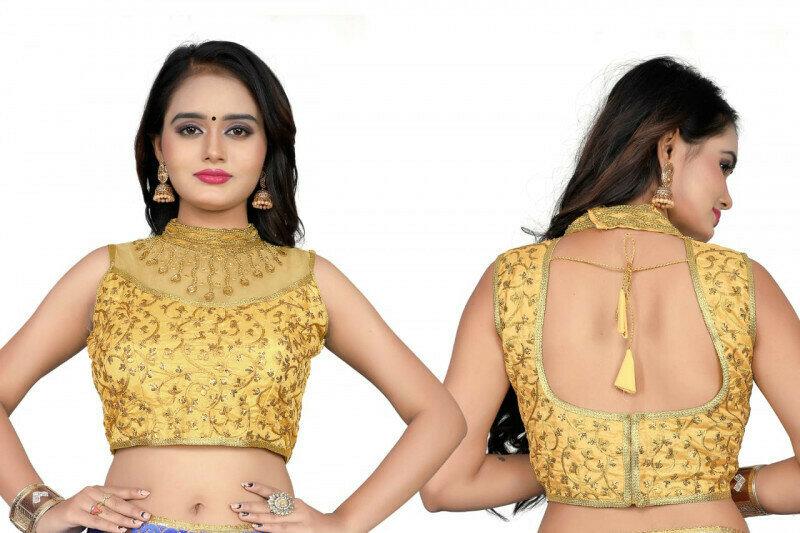 Party Wear Designer Yellow Color Blouse