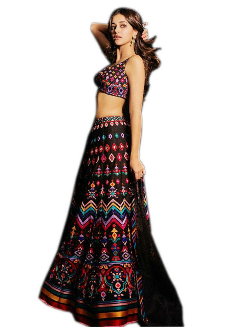 Party Wear Digital Printed Multi Colored Lehenga Choli