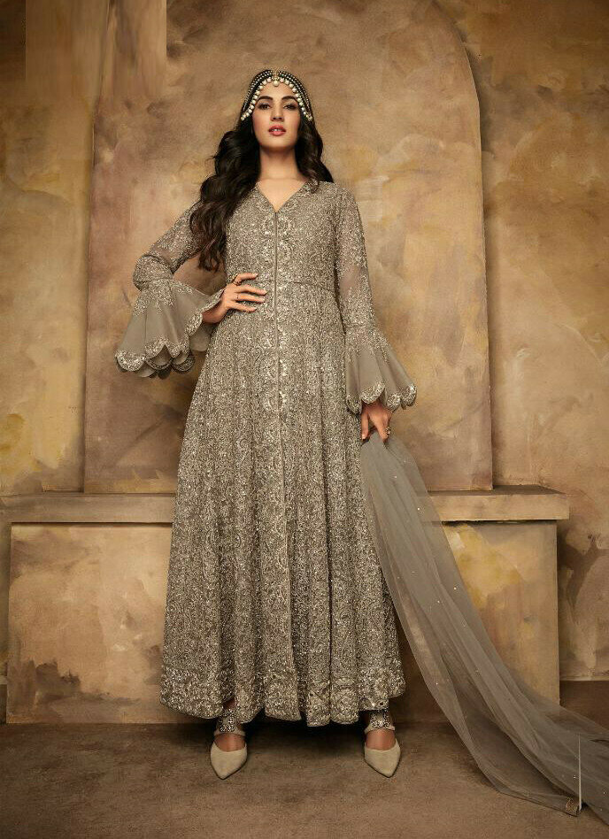 Party Wear Embroidery Work Silver Color Dress