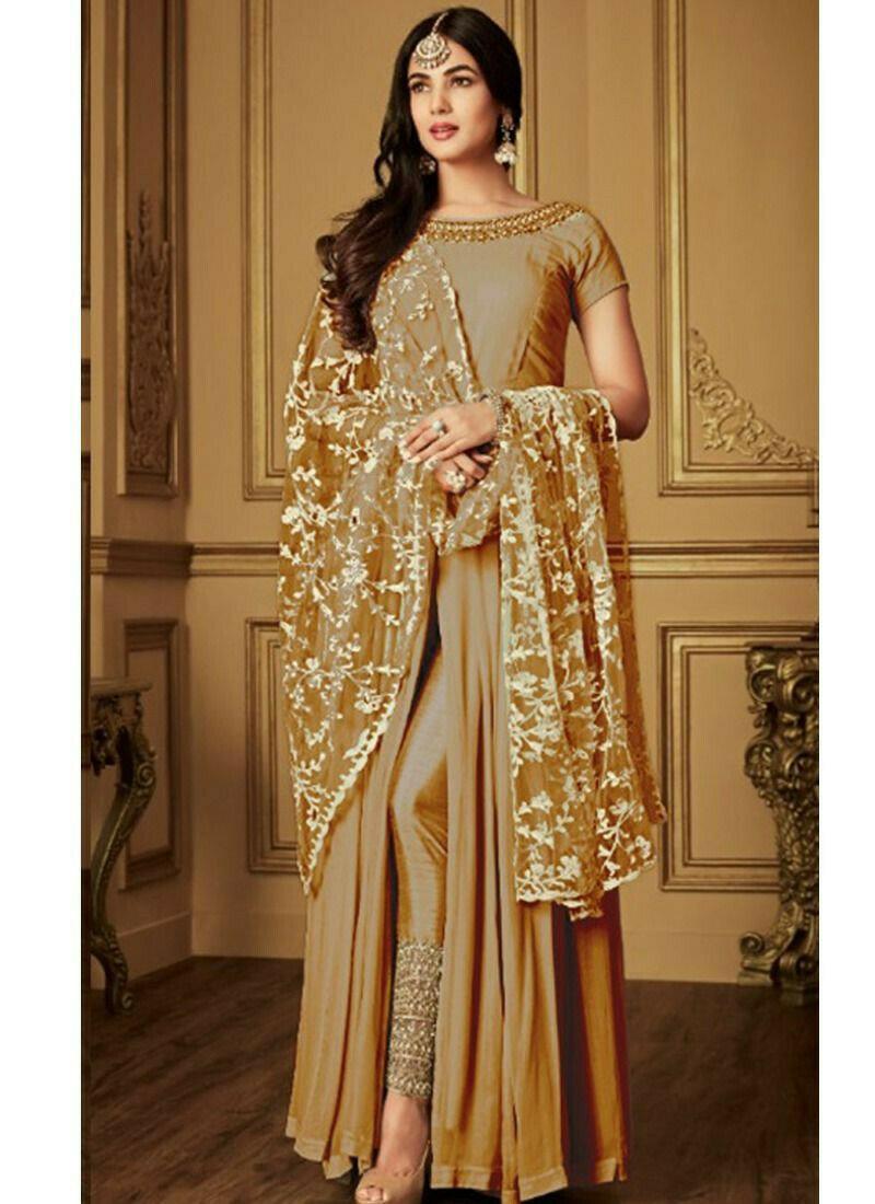 Party Wear Golden Georgette Designer Salwar Suit