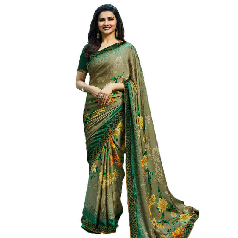 Party Wear Green Color Georgette Printed Saree