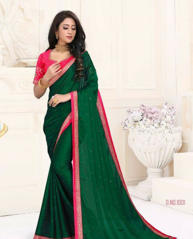 Party Wear Green Embroidery Work Saree