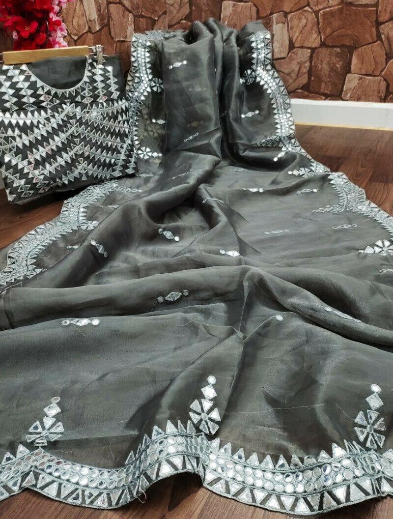 Party Wear Grey Organza Saree