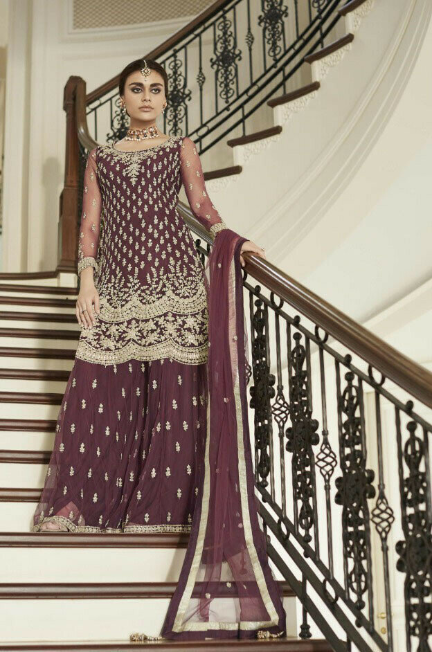 Party Wear Heavy Net With Embroidered Palazzo Suit Online