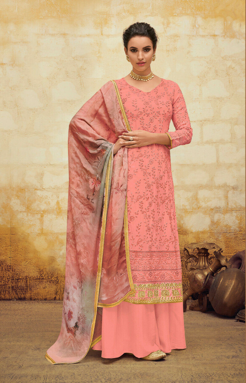 Party Wear Light Pink Color Embroidery Work Palzzo Suit