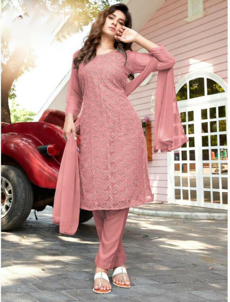 Party Wear Light Pink Georgette Salwar Suit For Woman