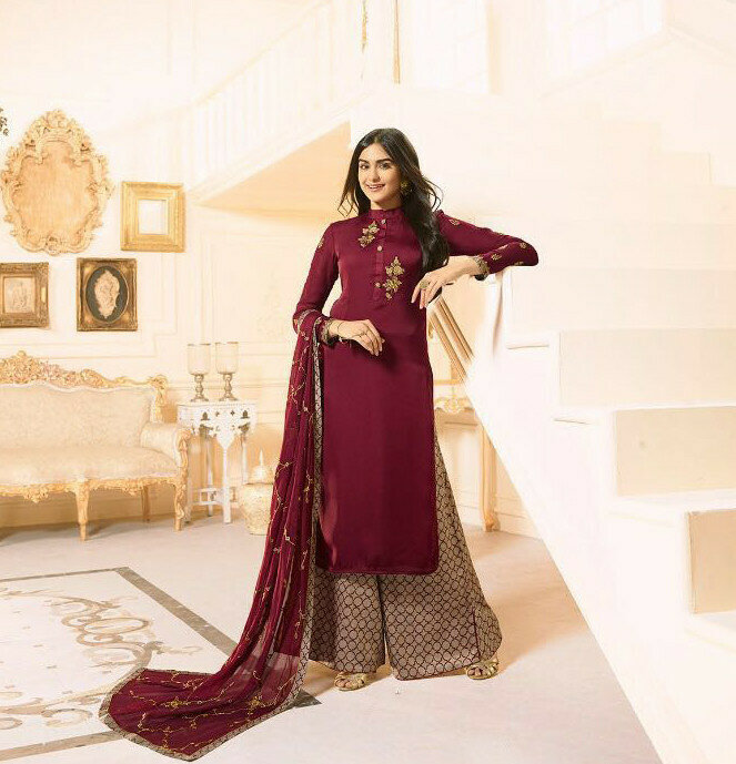 Party Wear Maroon Color Embroidery Work Palazzo Suit