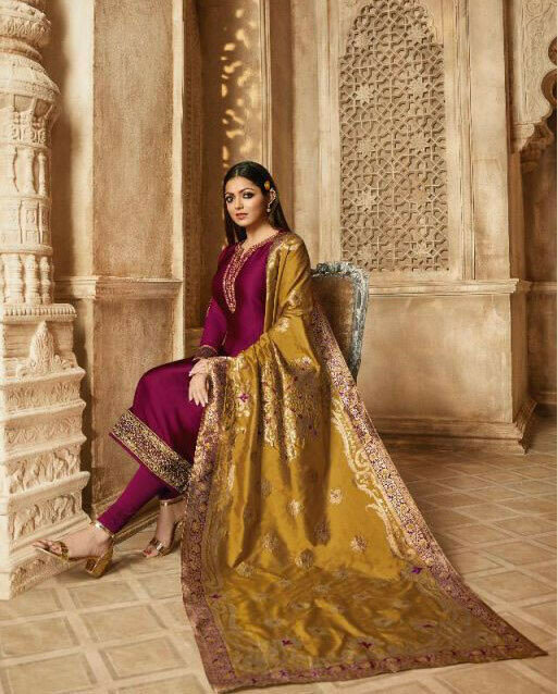 Party Wear New Pink Color Georgette  With Embroidery Work Salwar Suit With Beautiful Dupatta