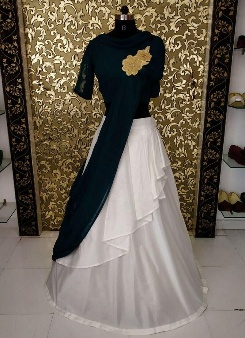 Party Wear Off White Taffeta Silk Designer Lehenga Choli