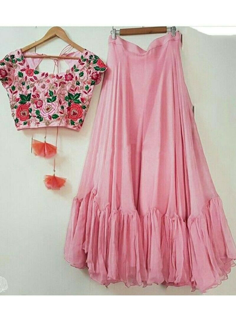 Party Wear Pink Georgette Designer Lehenga Choli