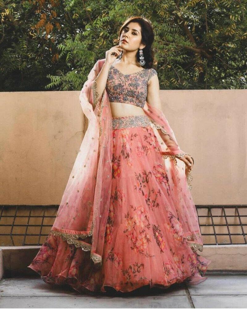 Party Wear Pink Organza Lehenga Choli