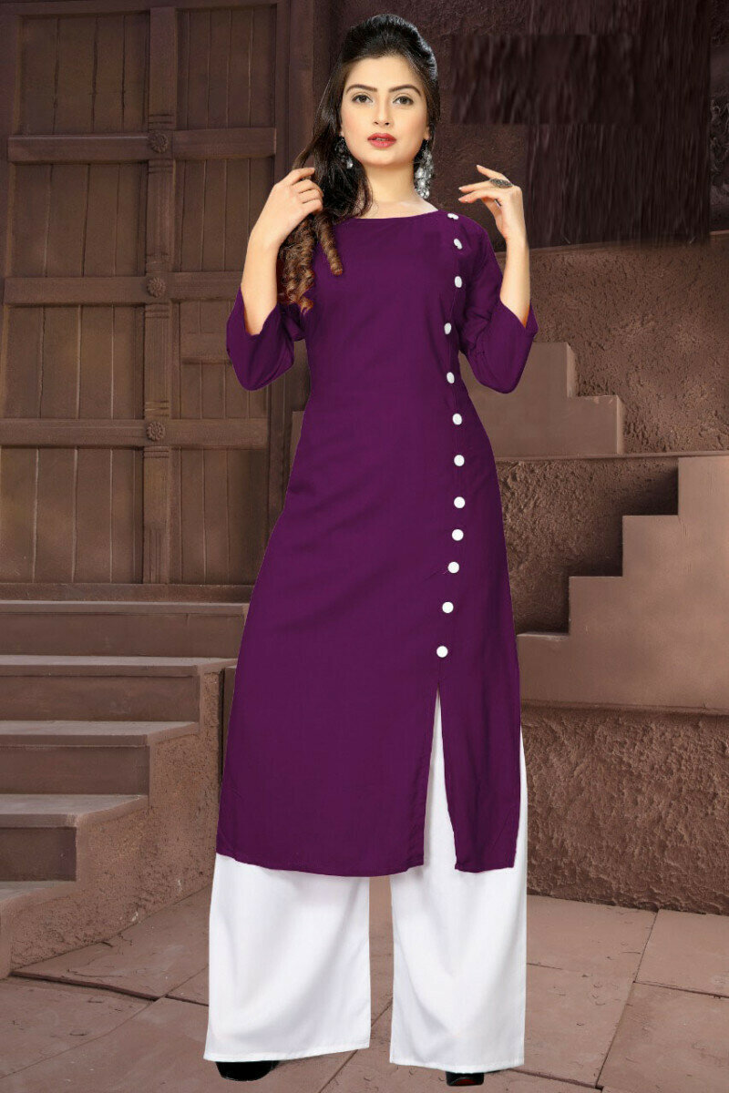 Party Wear Printed Purple Palazzo Suit