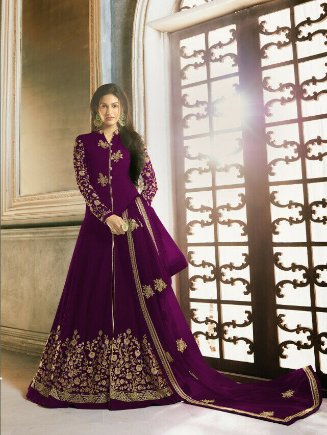 Party Wear Purple Color Embroidery Work Suit