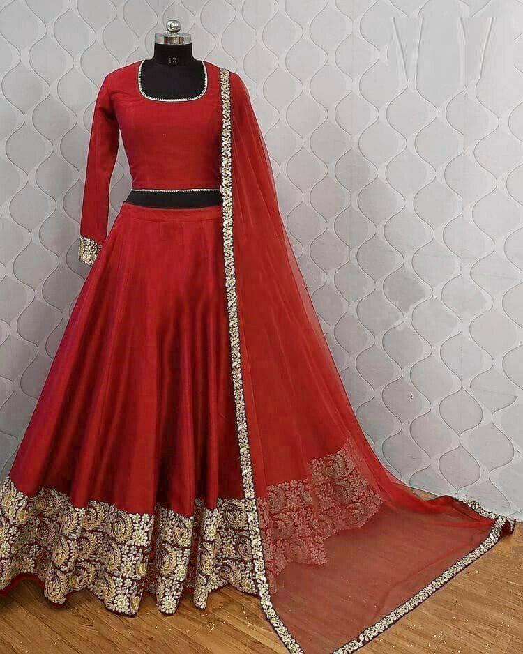 Party Wear Red Color Designer Lehenga