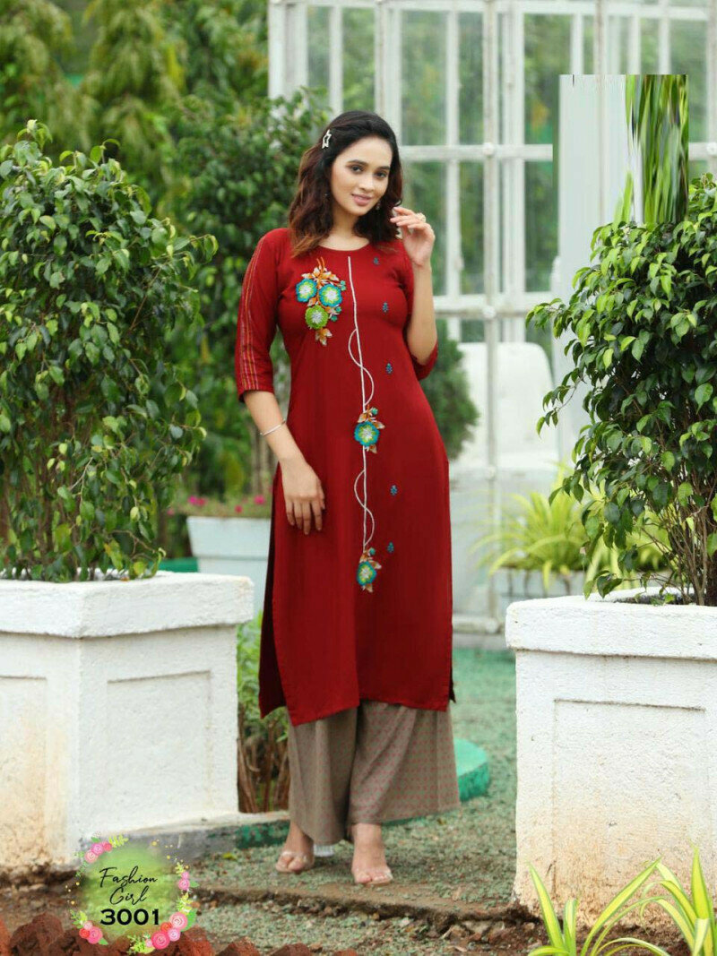Party Wear Red Color Palazzo Suit