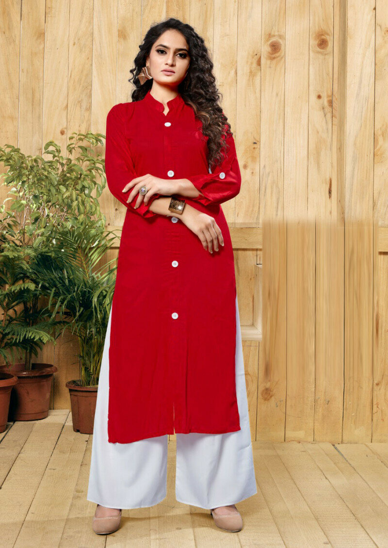 Party Wear Red Printed Palazzo Suit