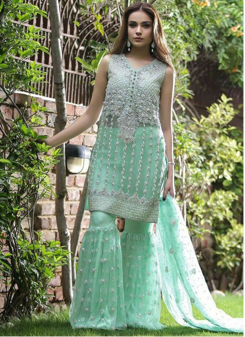 Party Wear Sea Green Heavy Net Designer Salwar Suit