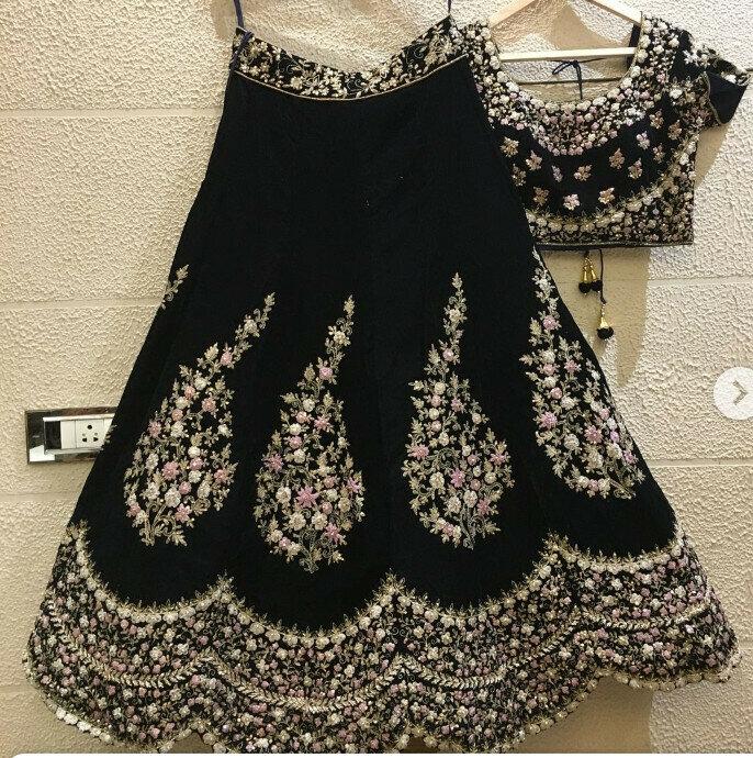 Party Wear Velvet Black Color Lehenga Choli