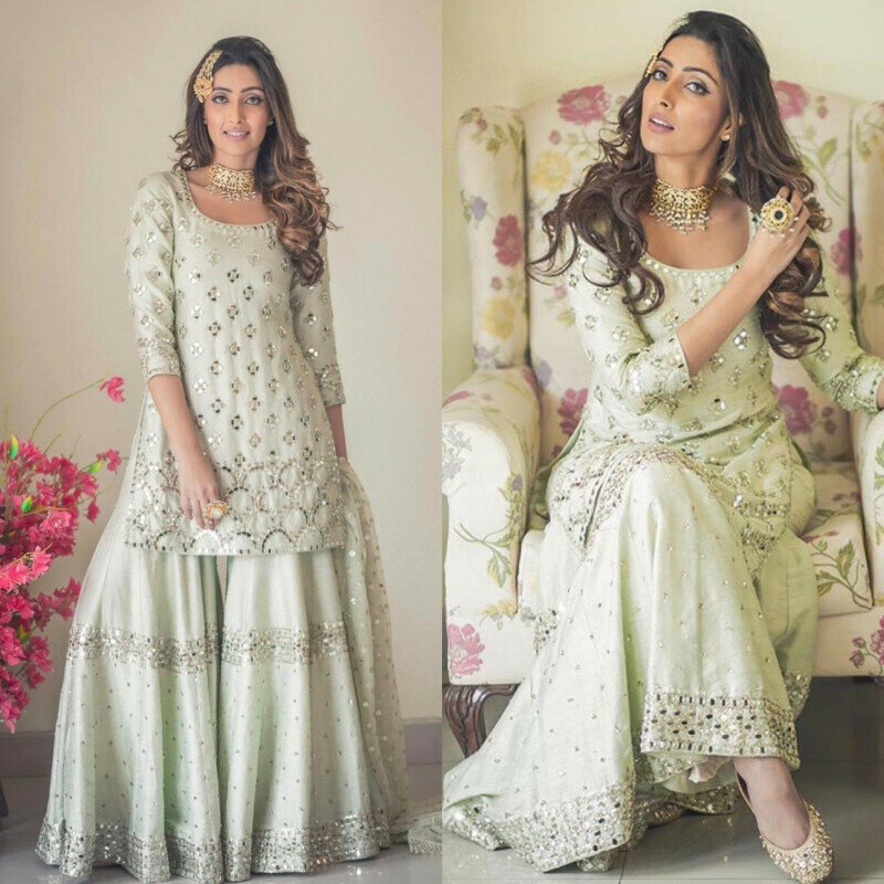 Party Wear White Color Sharara Suit