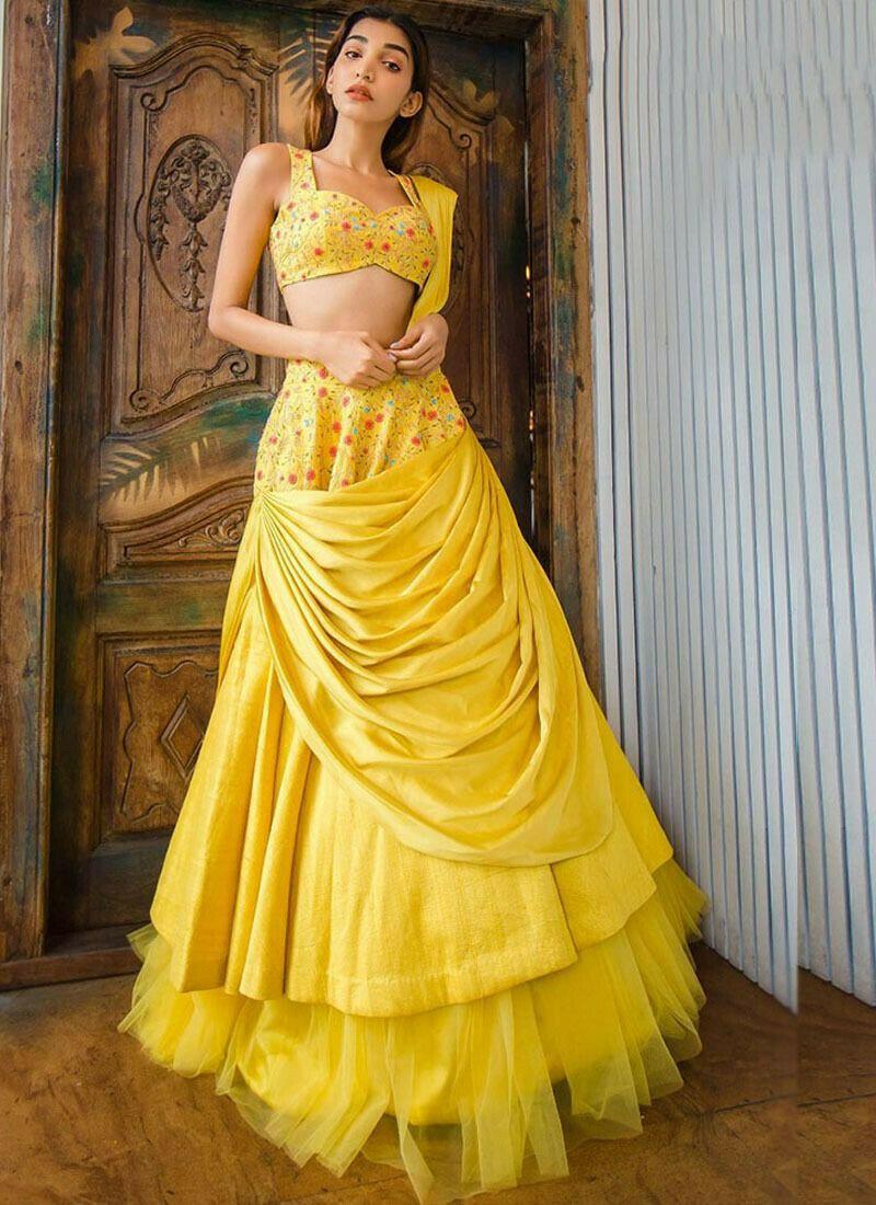 Party Wear Yellow Satin Banglori Thread Work Designer Lehenga Choli