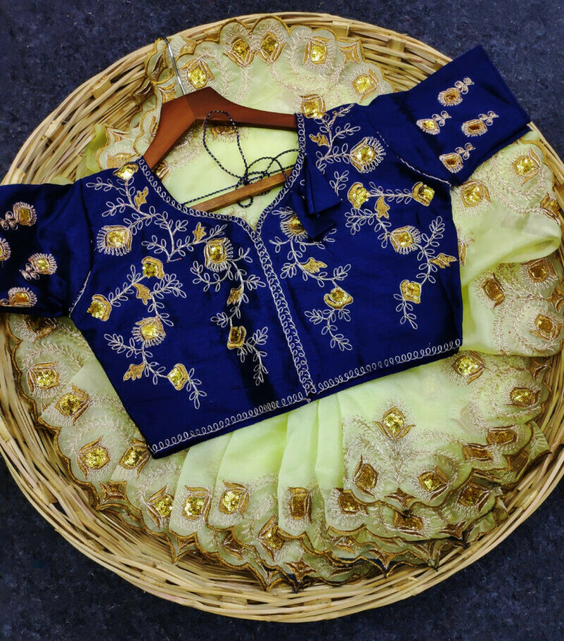 Party Wear Yellow Sequins Work Saree