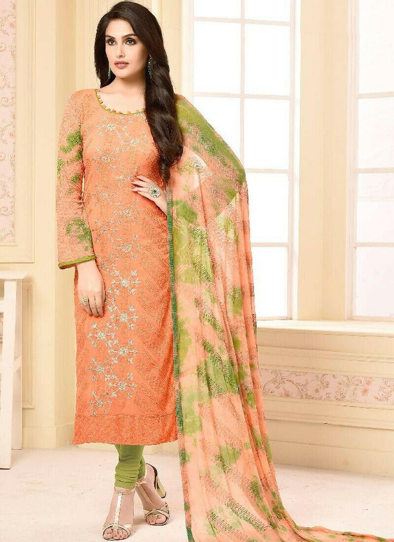 Peach Chiffon Straight Salwar Suits Your Choice
