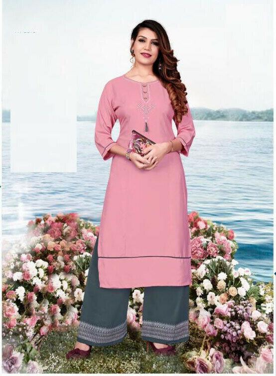 Peach Color Heavy Cotton Palazzo Suit