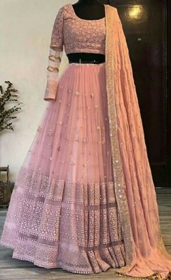Peach Color Party Wear Lehenga Choli