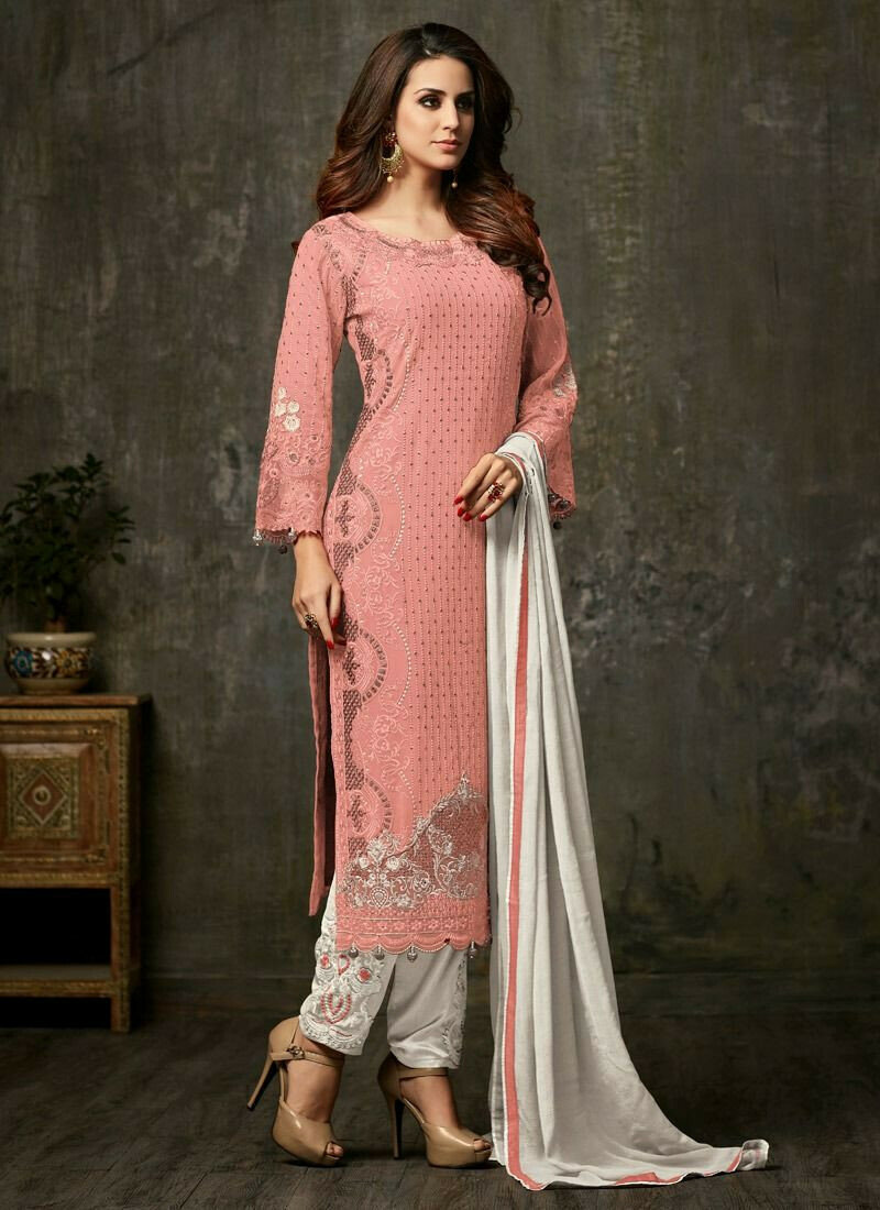 Peach Designer Straight Cut Suit For Wedding
