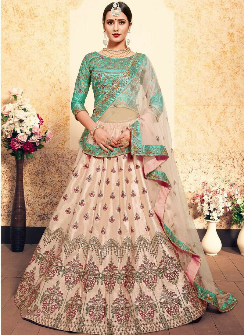 Peach Embroidered Designer Lehenga Choli For Wedding