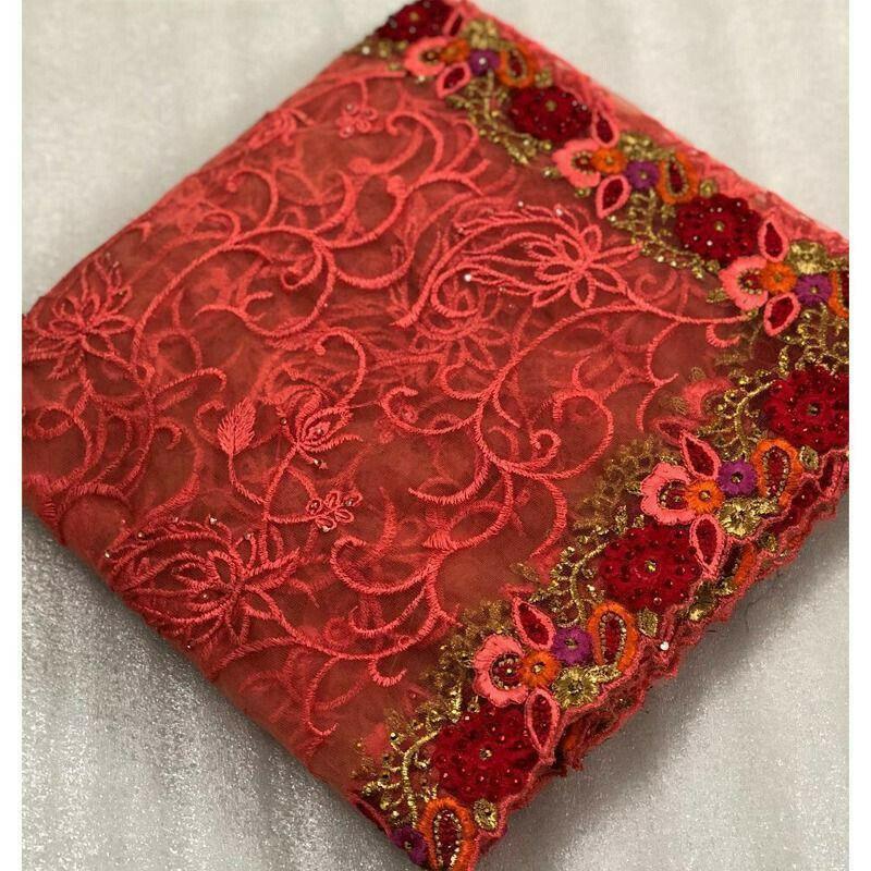 Peach Embroidered Net Wedding Designer Saree