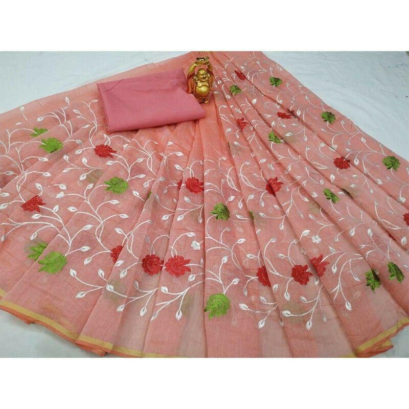 Peach South Cotton Fancy Saree Collection