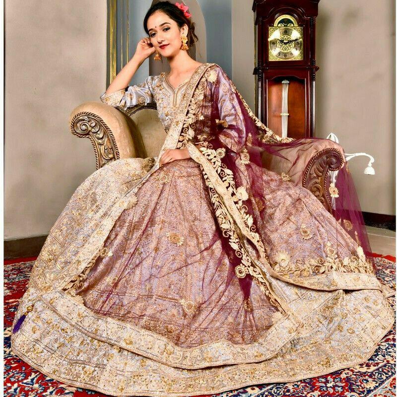 Periwinkle Color Wedding Bridal Lehenga Choli In Phantom Silk With Soft Net Dupatta