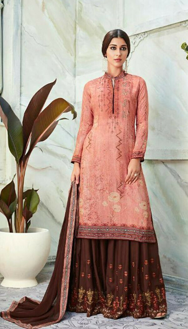Pink & Chocolate Colored Georgette Printed Work Plazzo Kurti