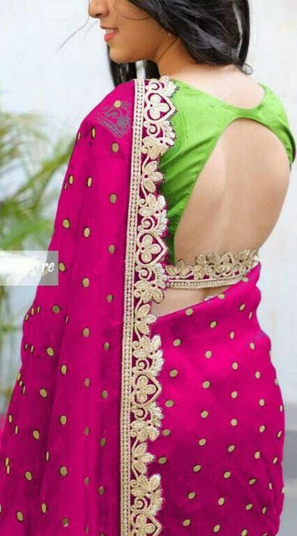 Pink & Green Colored Function Wear Embroidered Saree For Women