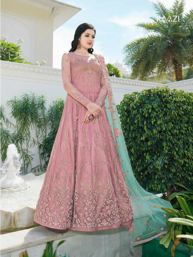Pink Color Embroidery Work Anarkali Suit For Girls