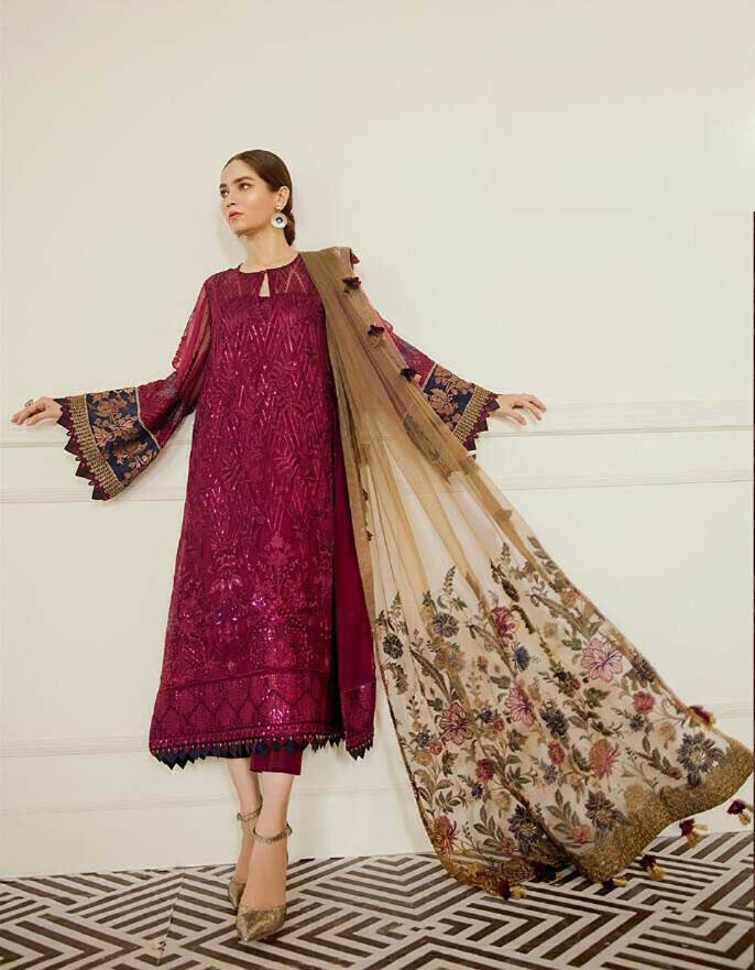 Pink Color Georgette Heavy Suit With Heavy Ddupatta